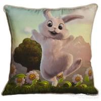 Yastıkminder Polyester Kumaş Dijital Tavşanlı Baskılı Yastık