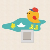 Modelce Yalnız Kuş Priz Sticker