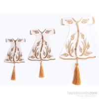 Miss Gaya Krem-Altın Üçlü Kaftan Nazarlık Set