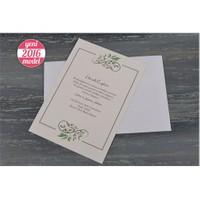 Ağaç Yapraklı Ucuz Sade Retro Düğün Davetiye 100 Adet Zarflı