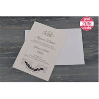 Yaldızlı Sade Ucuz Düğün Davetiye 100 Adet Zarflı