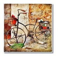 Tictac Bisiklet Kanvas Tablo - 70X70 Cm
