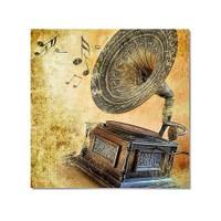 Tictac Gramafon Kanvas Tablo - 50X50 Cm