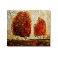 Tictac Kırmızı Ağaçlar Kanvas Tablo - 70X70 Cm