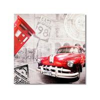 Tictac Küba Ve Kırmızı Araba Kanvas Tablo - 50X50 Cm