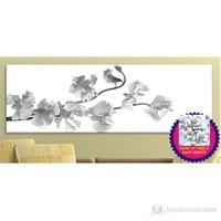 Siyah Beyaz Çiçek Dekoratif Kanvas Tablo (Saat HEDİYE)
