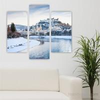 Dekoriza Karlı Göl & Evler 3 Parçalı Kanvas Tablo 95X80cm