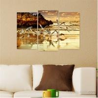 Dekoriza Deniz & Martılar 3 Parçalı Kanvas Tablo 80X50cm