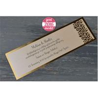 Altın Yaldızlı Zarf Ve Kartı İle Düğün Davetiye 100 Adet Zarflı