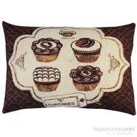 Gravel Dekoratif Baskılı Yastık - Cupcake A52102