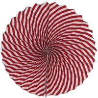 Pandoli Kırmızı Beyaz Çizgili Kağıt Yelpaze Süs 40 Cm 1 Adet
