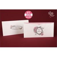 Gül Figürlü Rustik Düğün Davetiye 100 Adet Zarfsız