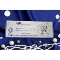Karikatürlü Şeffa Düğün Davetiye 100 Adet Zarflı