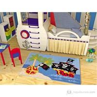 Confetti Pirate Ship 100X160 Cm Mavi Oymalı Çocuk Halısı