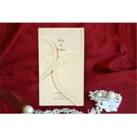 Kalp Düğün Davetiye 100 Adet Zarflı