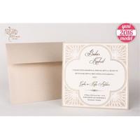 Yaldız Süslemeli Sade Düğün Davetiye 100 Adet Zarflı