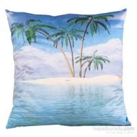Yastıkminder Kadife Koton Mavi Deniz Ada Palmiye Baskılı Dekoratif Yastık