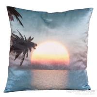 Yastıkminder Kadife Koton Mavi Beyaz Güneşin Batışı Figürlü Baskılı Dekoratif Yastık