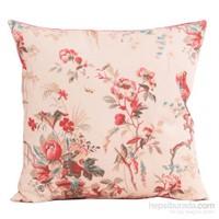 Yastıkminder Koton Bej Fuşya Mercan Ekru Çiçekler Desenli Dekoratif Yastık