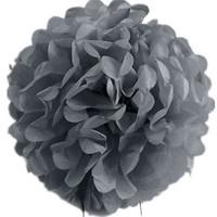 Pandoli 1 Adet Silver Renk Pelur Kağıt Ponpon Çiçek 25 Cm Asma Süs