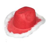 Pandoli Beyaz Tüylü Kırmızı Rodeo Şapkası