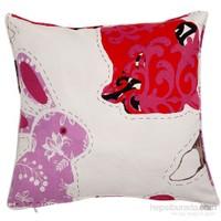 Yastıkminder Koton Ekru Lila Kırmızı Tavşan Figürlü Dekoratif Yastık
