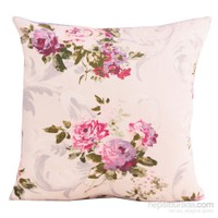 Yastıkminder Koton Bej Fuşya Lila Ekru Çiçekler Desenli Dekoratif Yastık