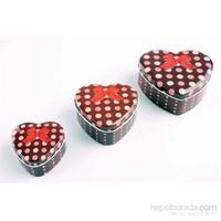 3'Lü Dekoratif Metal Kalp Kutu Seti