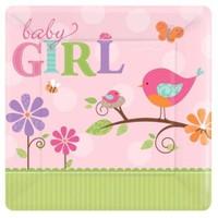 Parti Paketi Baby Girl Kare Açık Büfe Tabağı 8'Li