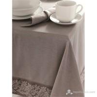 Issimo Home 160x160 Bordürlü Masa Örtüsü - Brittany Kahve