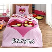 Angry Birds Tek Kişilik Nevresim Takımı Pembe