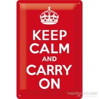 Keep Calm And Carry On Metal Kabartmalı Duvar Panosu