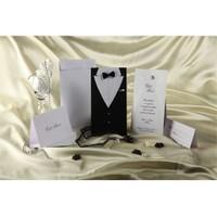 Damatlık Ve Gelinlik Temalı Şık Düğün Davetiy 100 Adet Zarflı