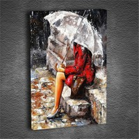 Artmoda - Kabartmalı Şemsiyeli Kadın Tablo
