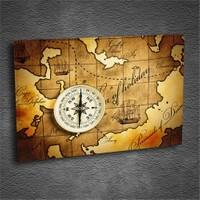 Artmoda - Kabartmalı Harita Ve Pusula Tablo