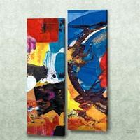 Dekorjinal 2 Li Dikdörtgen Kanvas Tablo Seti Sel098