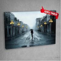 Sokak Lambaları Led Işıklı Kanvas Tablo 50X70 Cm