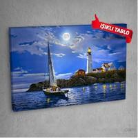 Fener Evi Led Işıklı Kanvas Tablo 50X70 Cm