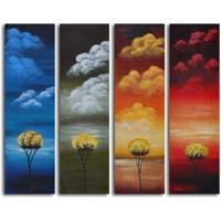 Clock Mango Multi Color Kanvas Tablo 20X60x4prc