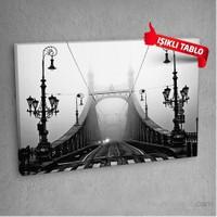 Sıyah-Beyaz-Köprü Led Işıklı Kanvas Tablo 50X70 Cm
