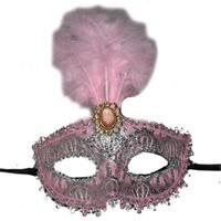 Pandoli İşlemeli Tüylü Parti Maskesi Pembe Renk