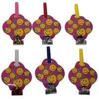 Pandoli Smiley Parti Düdüğü Pembe Renk 6 Adet