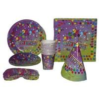 Pandoli Circus Happy Birthday 12 Kişilik Parti Seti Mor Renk