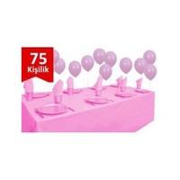 Parti Şöleni Pembe Plastik 75 Kişilik Set