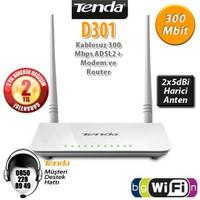 Tenda D301 4Port WiFi-N 300Mbps ADSL2+ Modem+USB