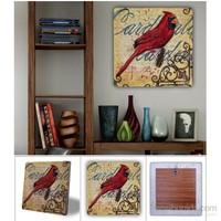 Oscar Stone Kırmızı Kuş Doğal Taş Tablo - 20X20 Cm
