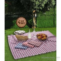Eponj Home 4'Lü Piknik Örtü Seti 160X160cm Bakla Bordo-Fuşya