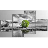 Tictac 4 Parça Kanvas Tablo - Yeşil Ağaç
