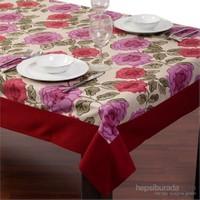 Yastıkminder Koton Yeşil Yapraklı Kırmızı Güller Dikdörtgen Masa Örtüsü