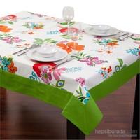 Yastıkminder Koton Yeşil Kırmızı Çiçekler Dikdötgen Masa Örtü